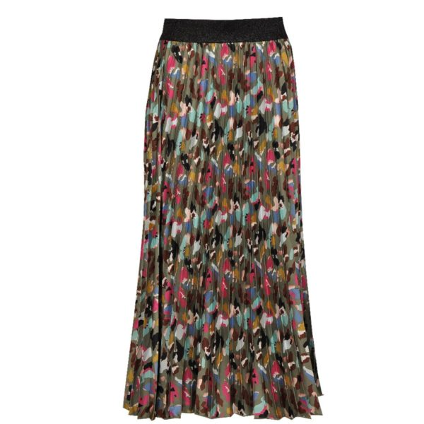 Pleated camou print maxi skirt