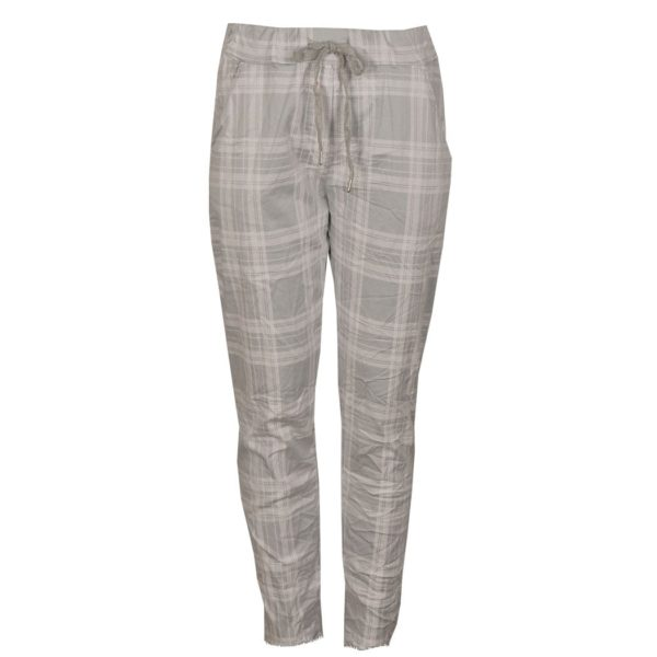 Checked raw hem pants