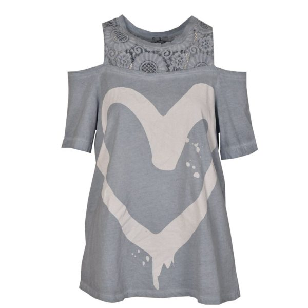 Lace cold shoulder heart print t-shirt