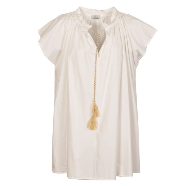 Draw-string tassel tunic dress