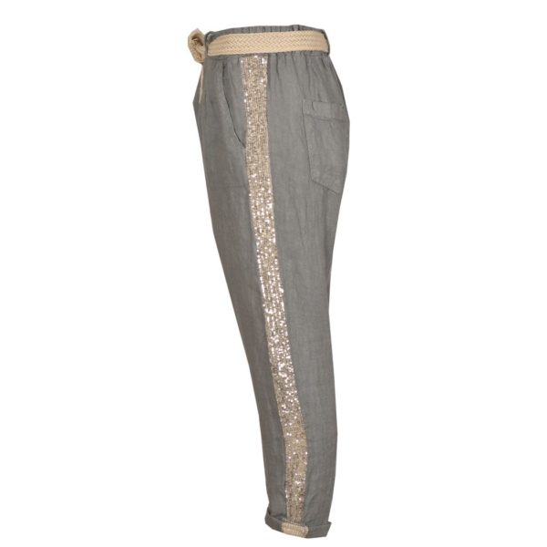 Sequin side stripe linen pants
