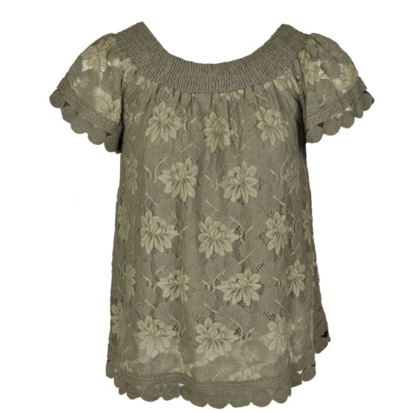 Floral lace shirring top