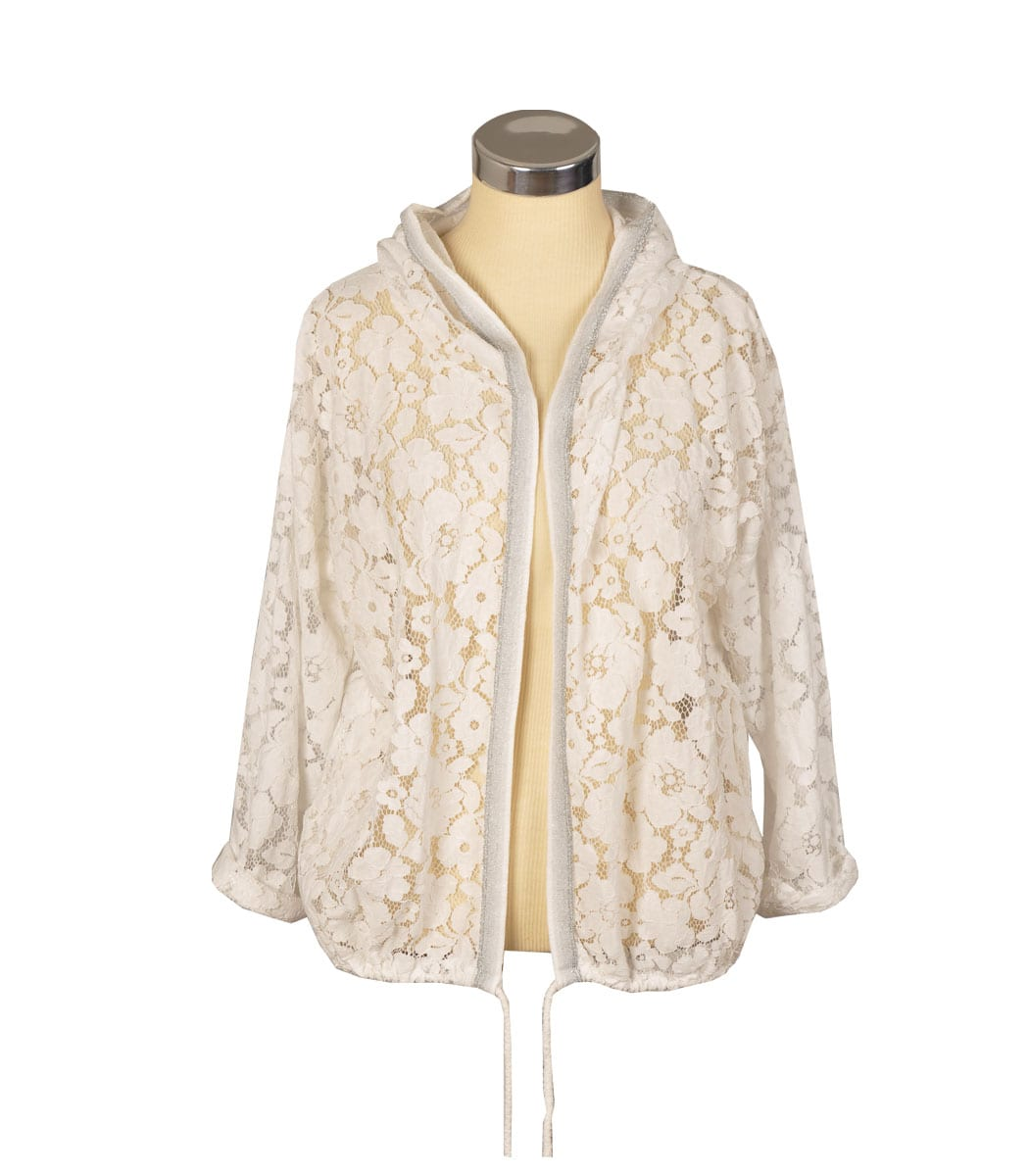 Hooded lace sequin back jacket