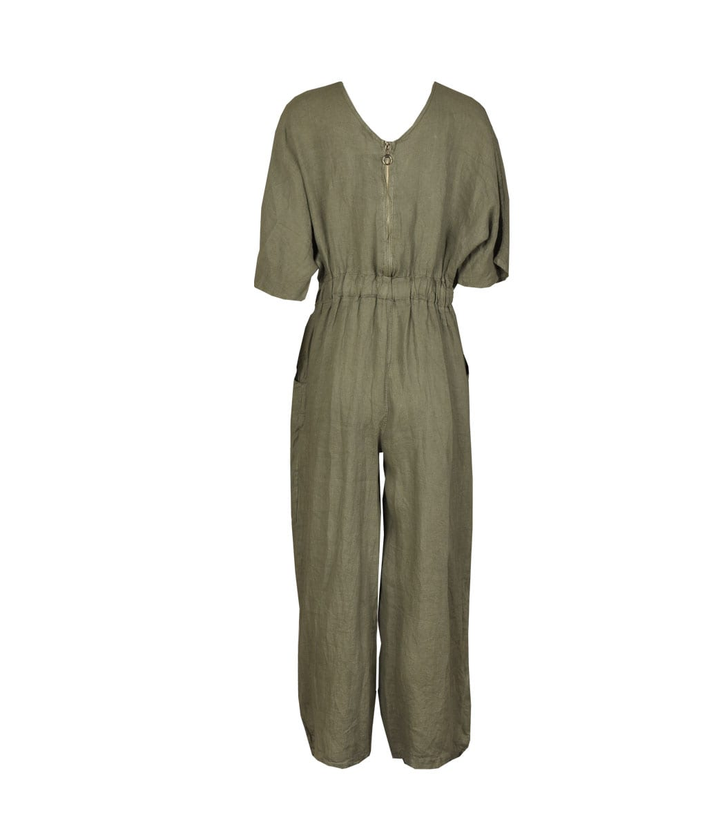 Linen zip back jumpsuit