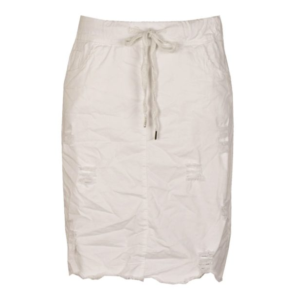 Raw-hem draw-string pencil skirt
