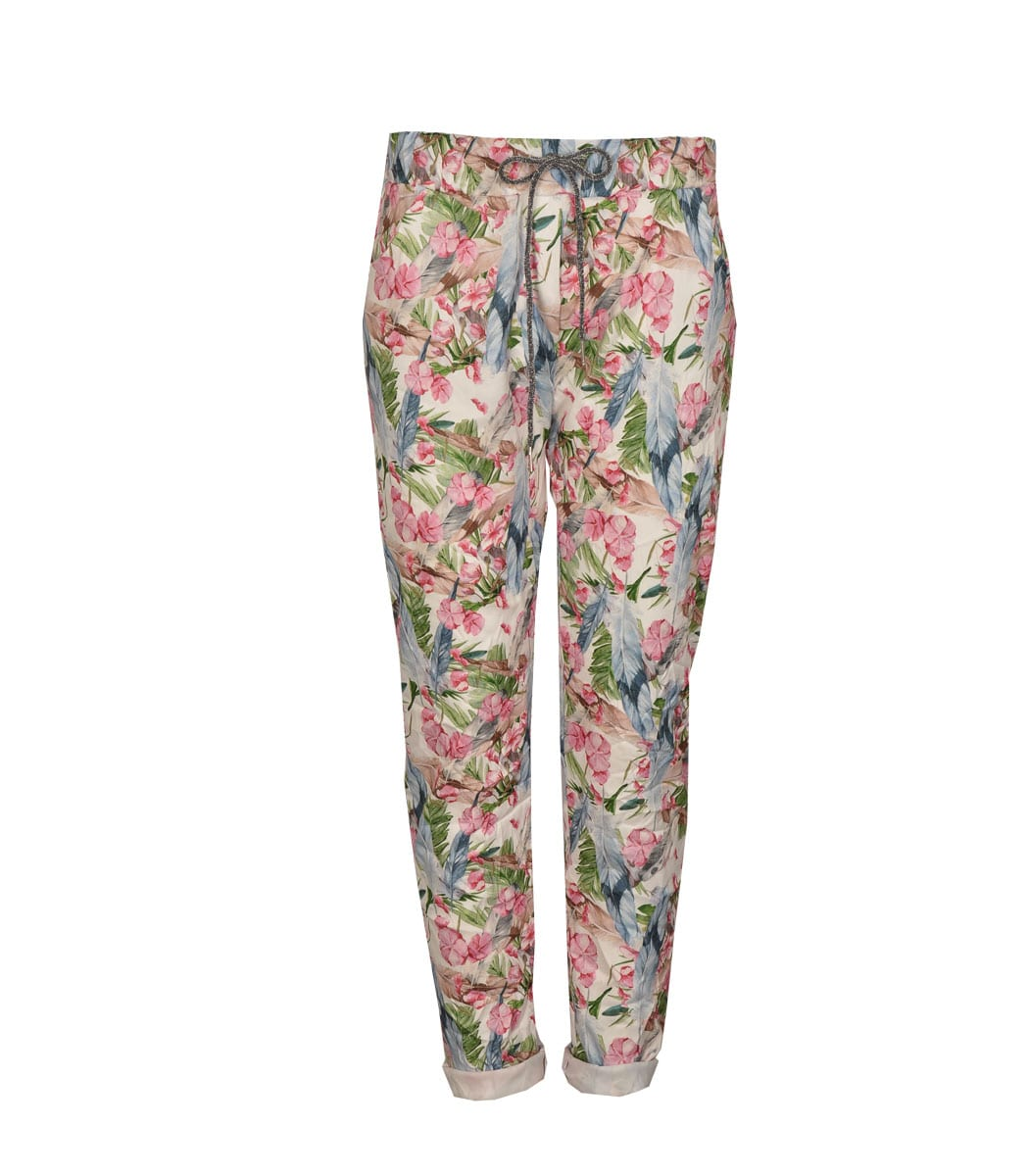 Feathers and floral printed pants