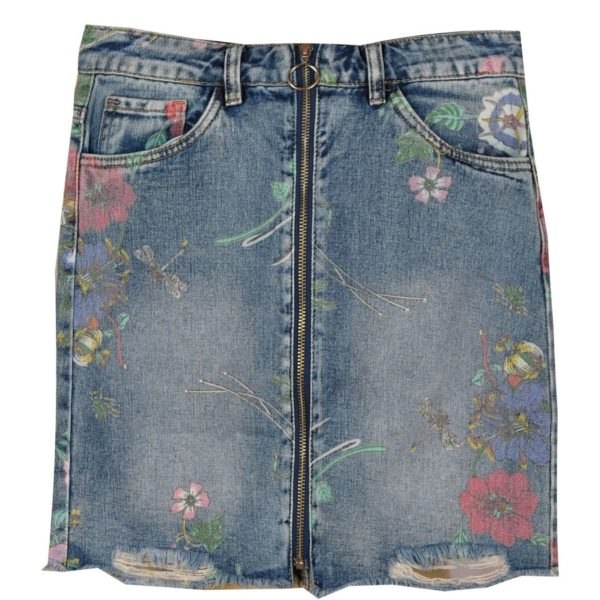Floral denim zip mini skirt