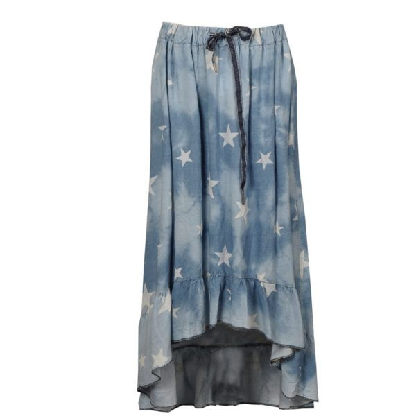 Star print hi-lo denim skirt