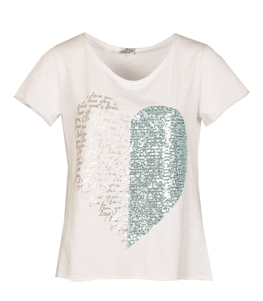 Sequin heart silver writing top