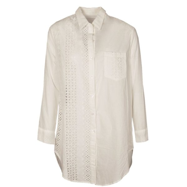 Half anglaise lace long shirt