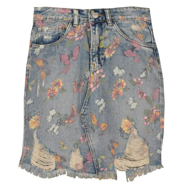 Frayed butterfly denim skirt