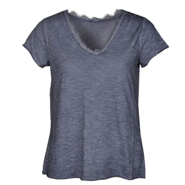 V-neck lace trim t-shirt
