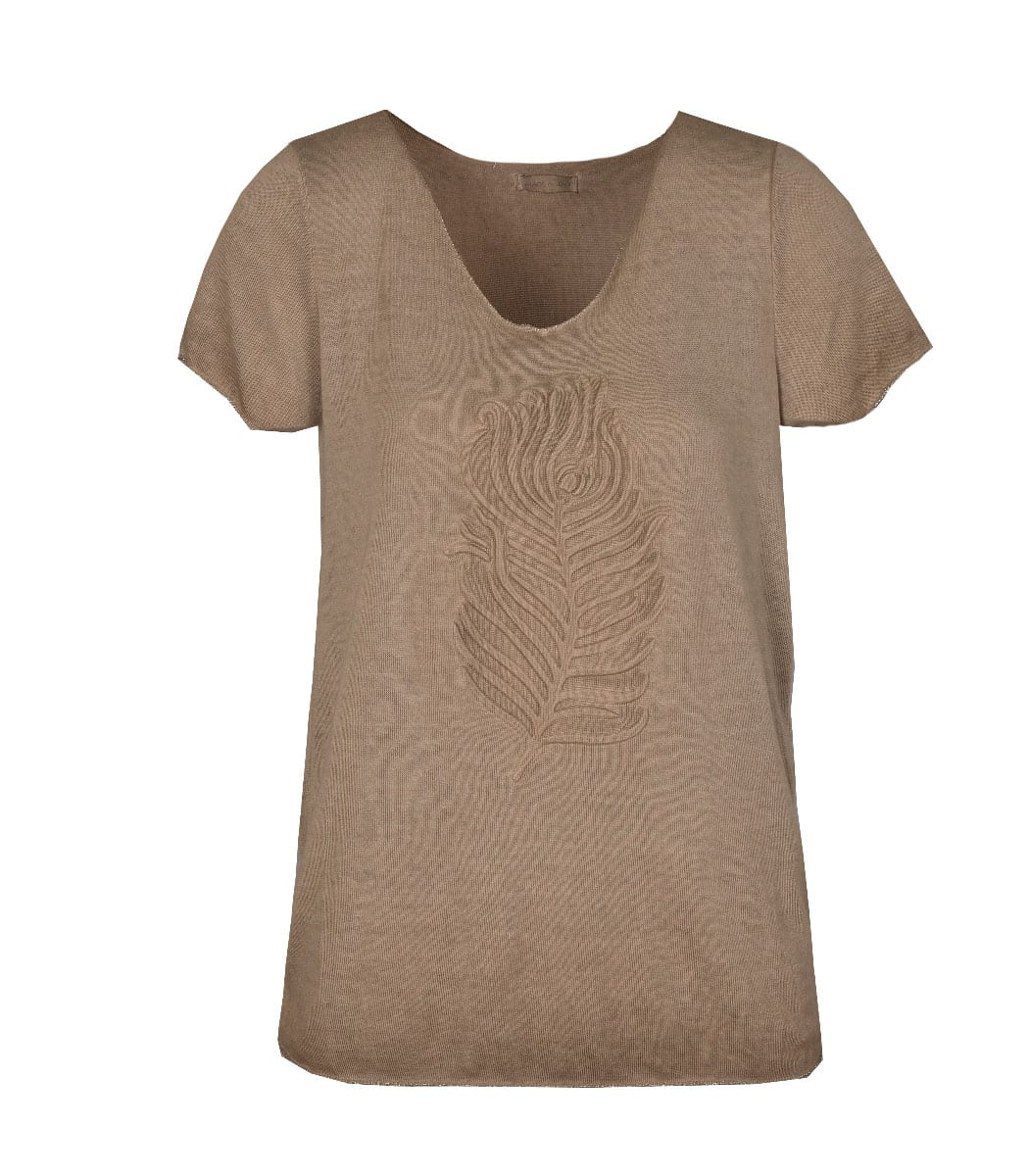 Feather embossed top
