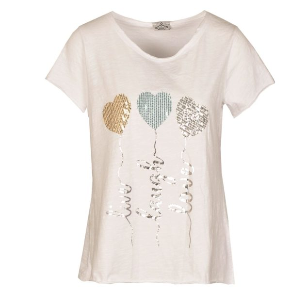 3 Sequin heart silver writing top