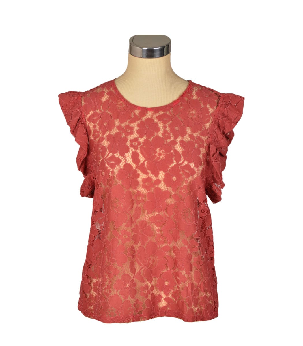 Lace frill sleeve top