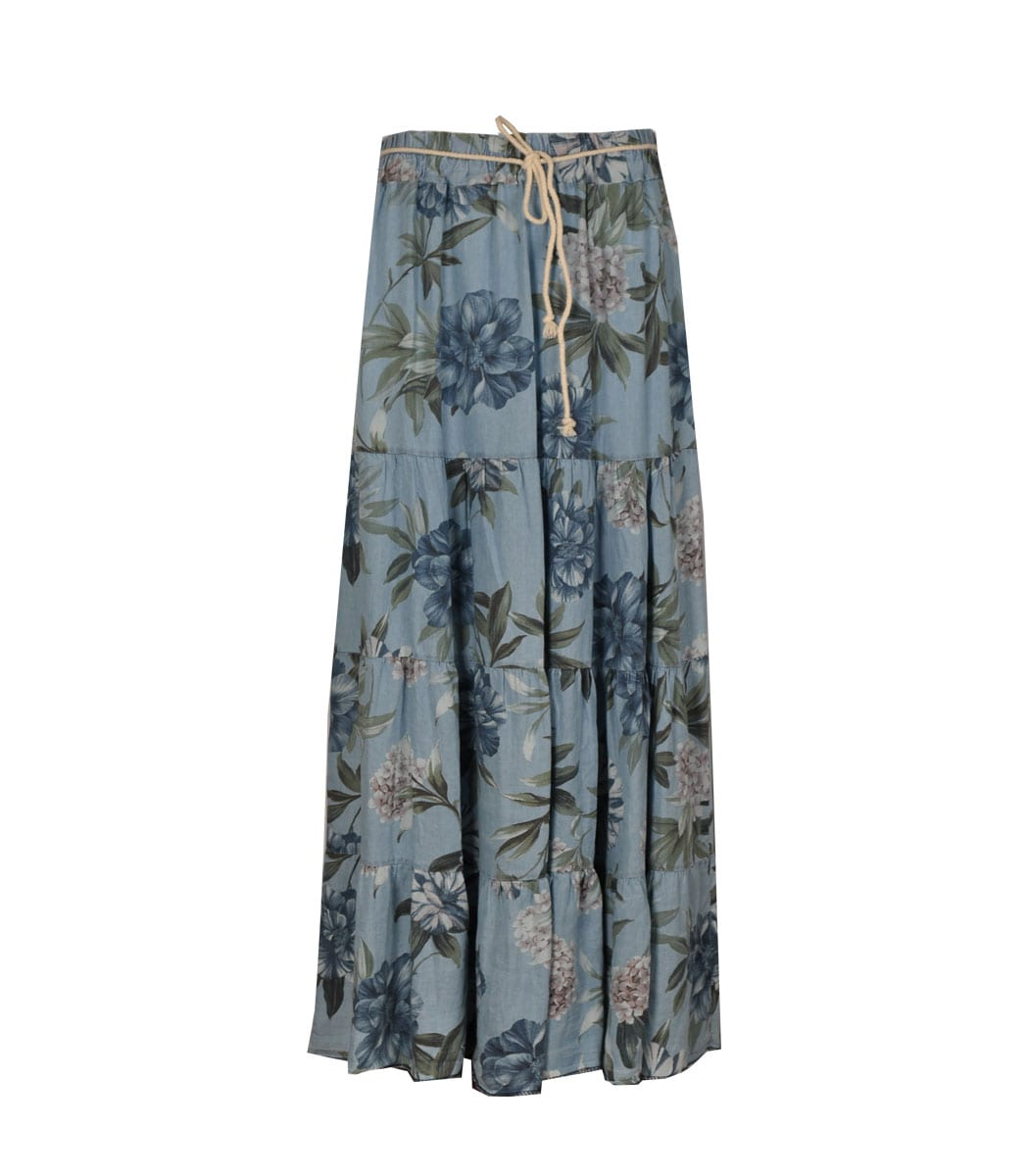 Floral print tiered chambray skirt