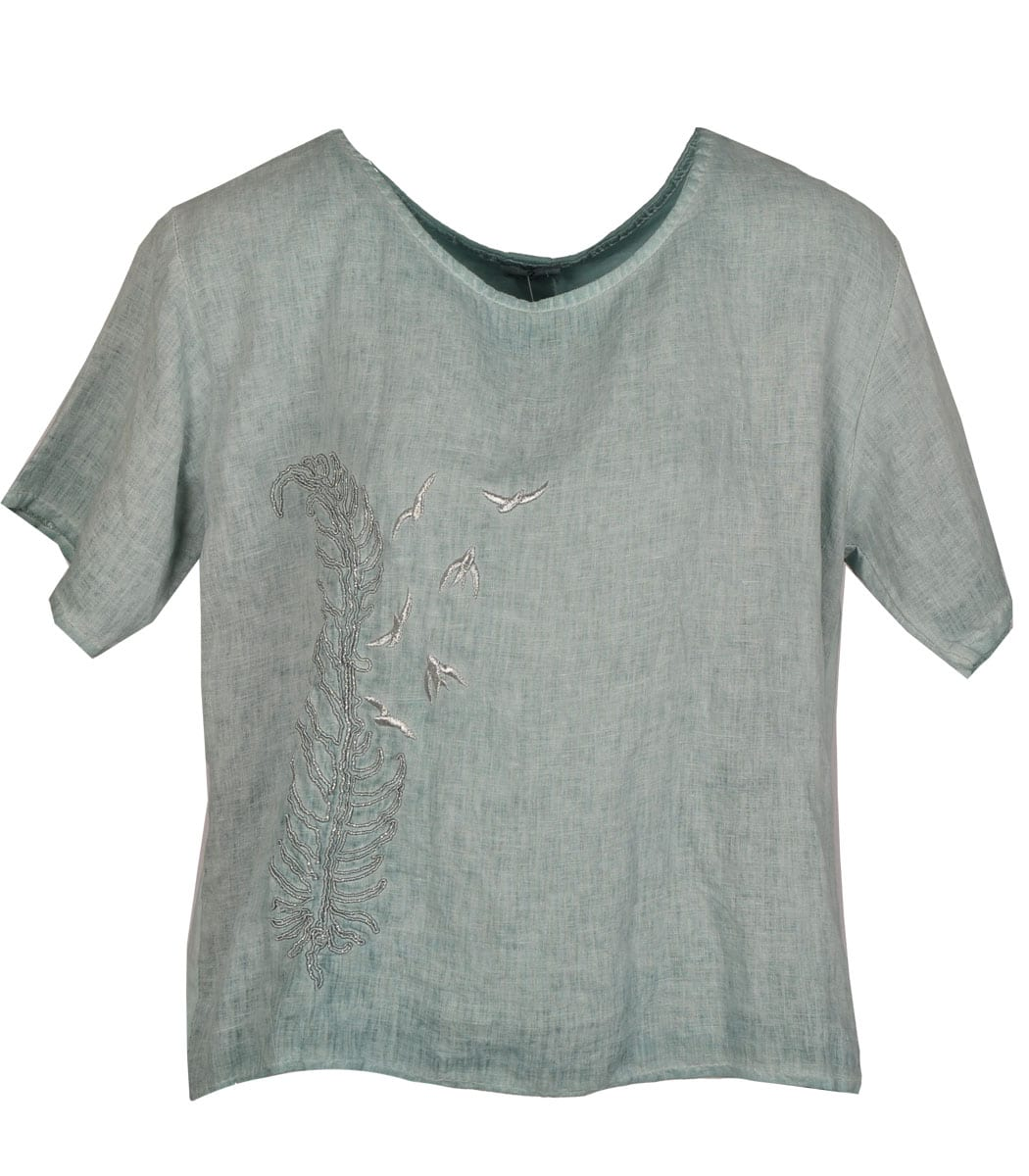 2-Textured embroidered feather top