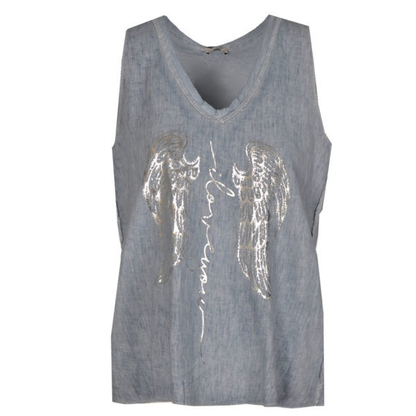 2-Texture silver wings cami