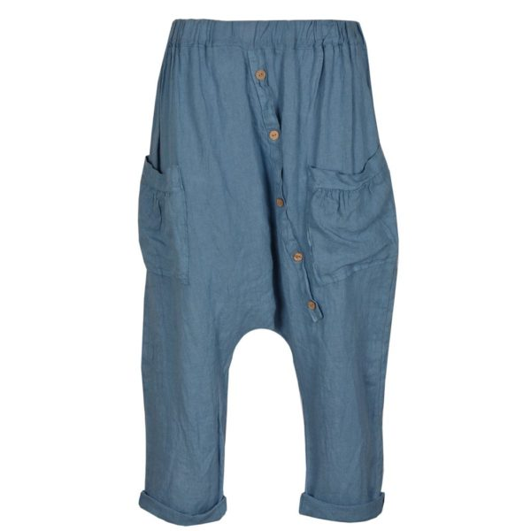 Linen button harem pants