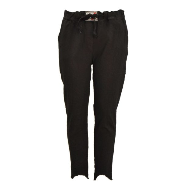 Raw-hem drawstring pants
