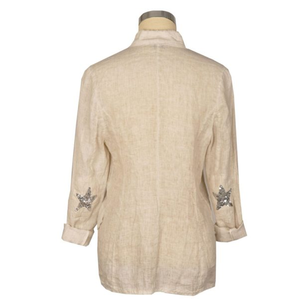 Sequin star elbow linen jacket