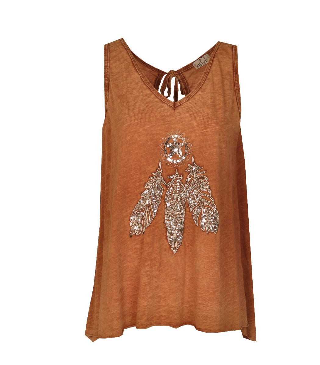 Sequin feather washed vest