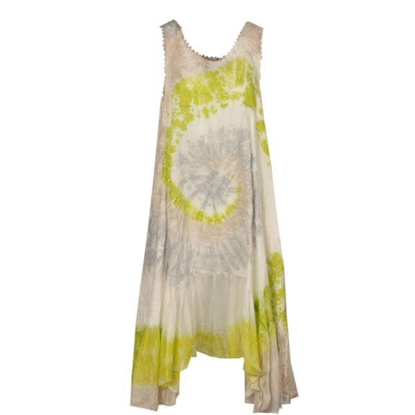 Linen and silk tie dye dress