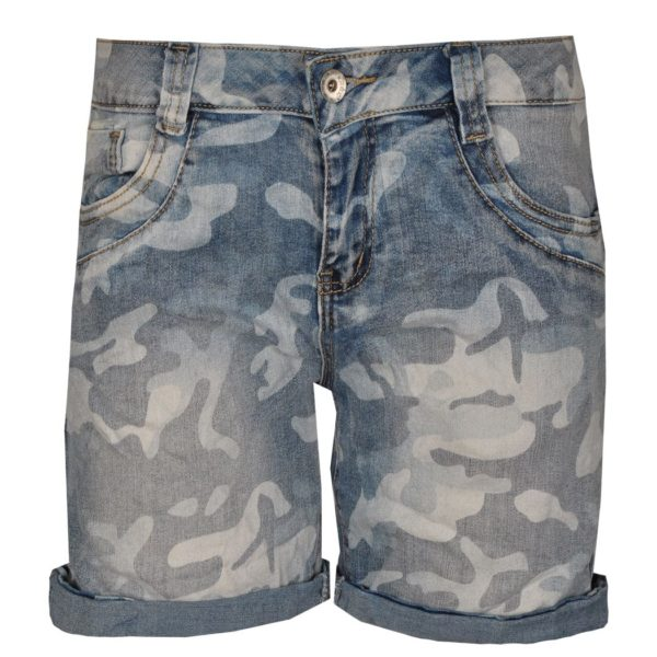 Camou denim shorts