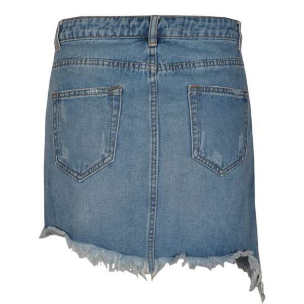 Denim eyelet mini skirt