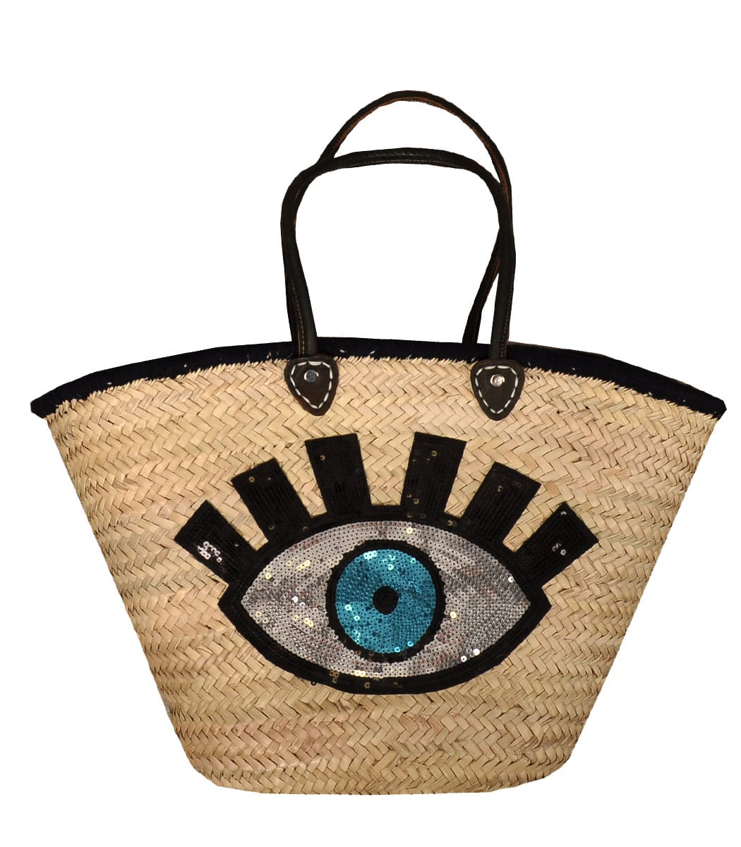 Straw evil eye bag