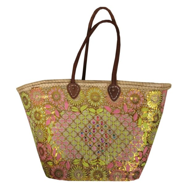 Fluo embroidered beach bag