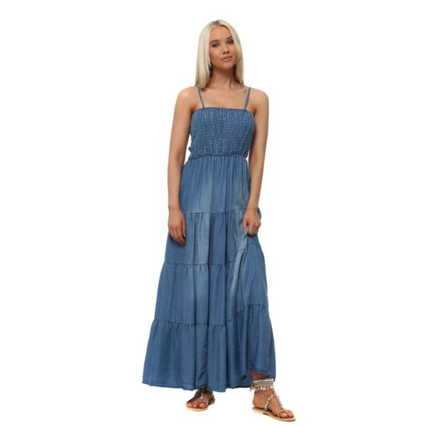 Denim strap maxi dress