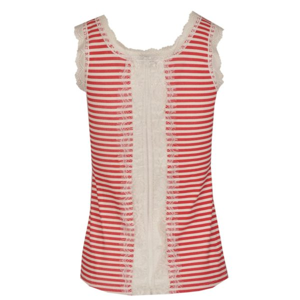 Lace back stripe vest