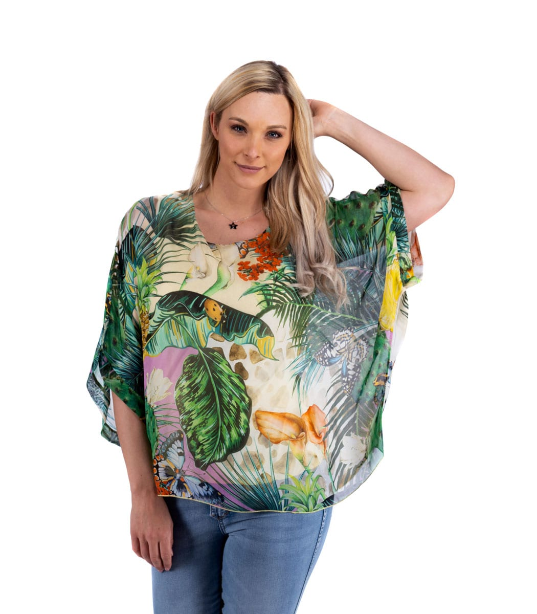 Pineapple print silk boxy top
