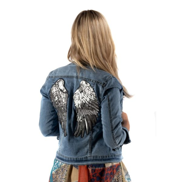 Sequin wings back denim jacket