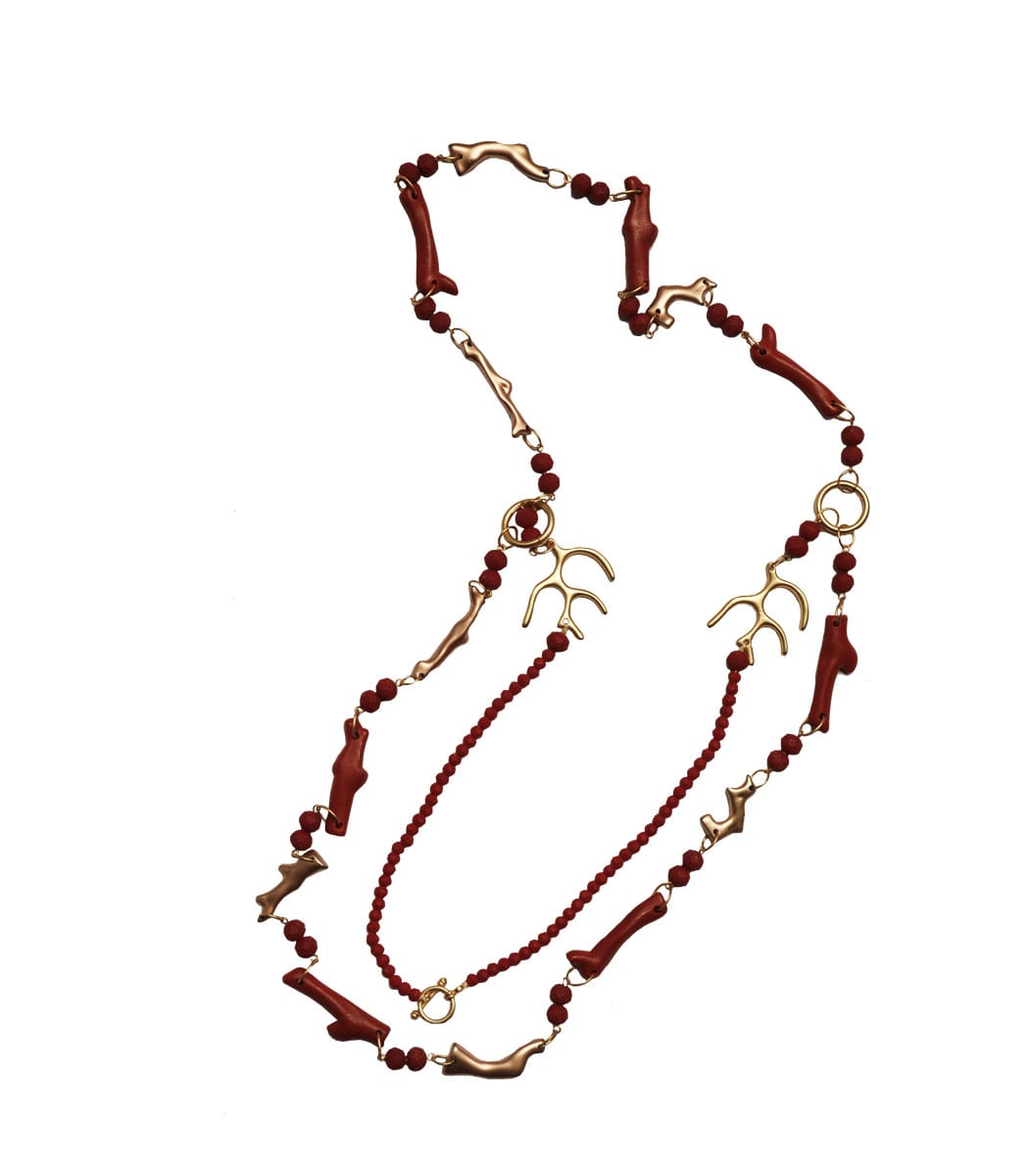 Red and gold coral necklace