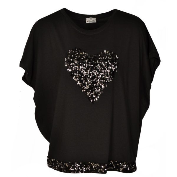 Heart sequin boxy top