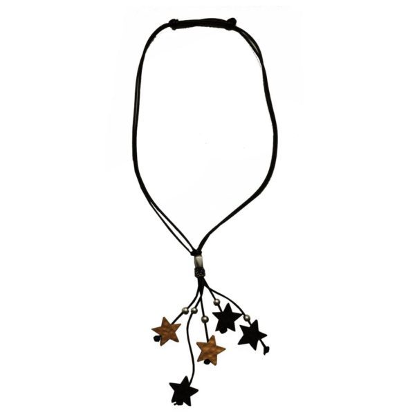 Wooden star long necklace