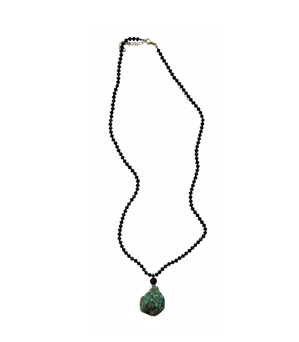 Crystal turquoise stone necklace