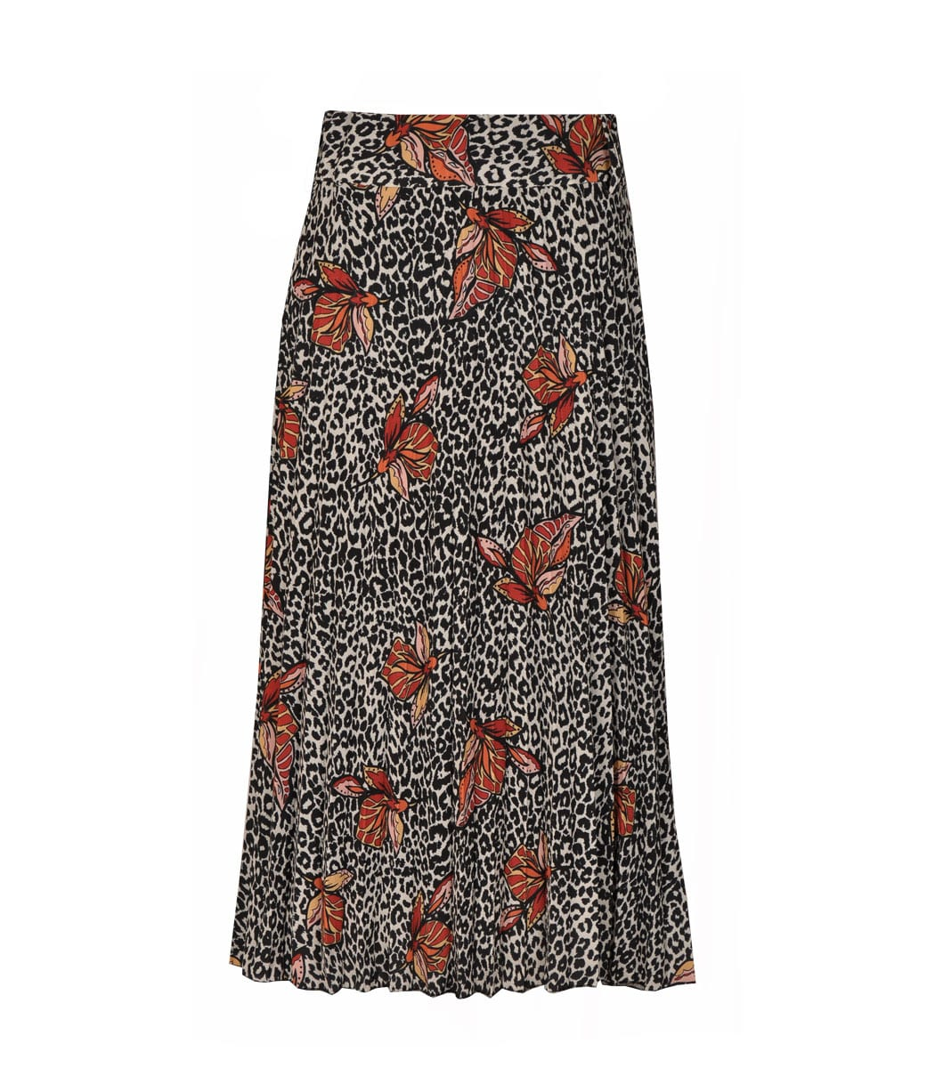 Animal flower pleated skirt
