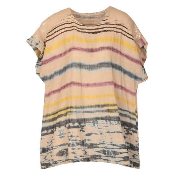 Washed striped sequin trim top