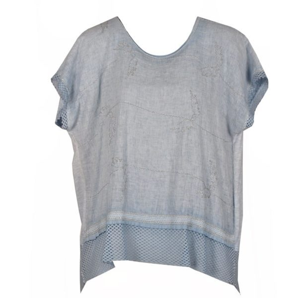 Net hem 2 textured linen top