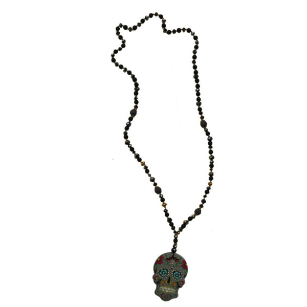 Embellished jeweled skull necklace