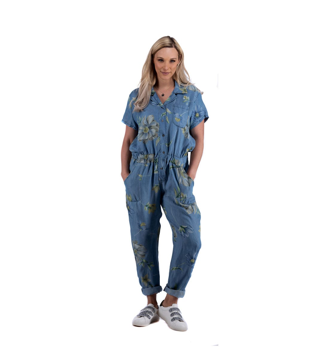 Floral denim chambray jumpsuit