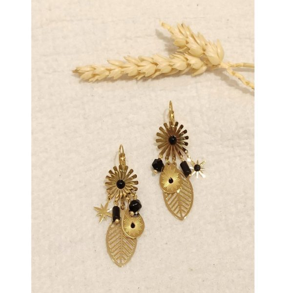 Dangle gold leaf earrings