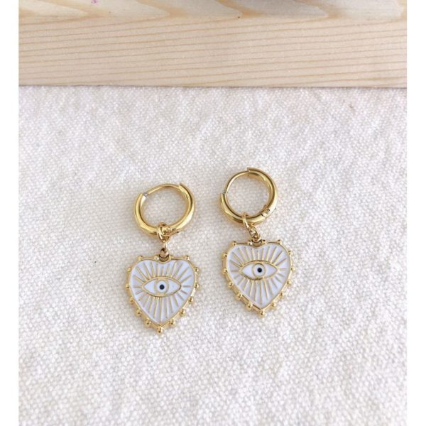 Evil eye heart earrings