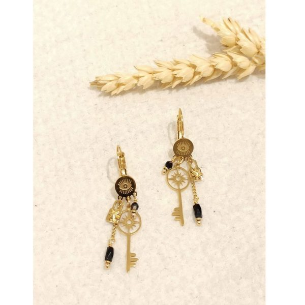 Key & lock eye earrings