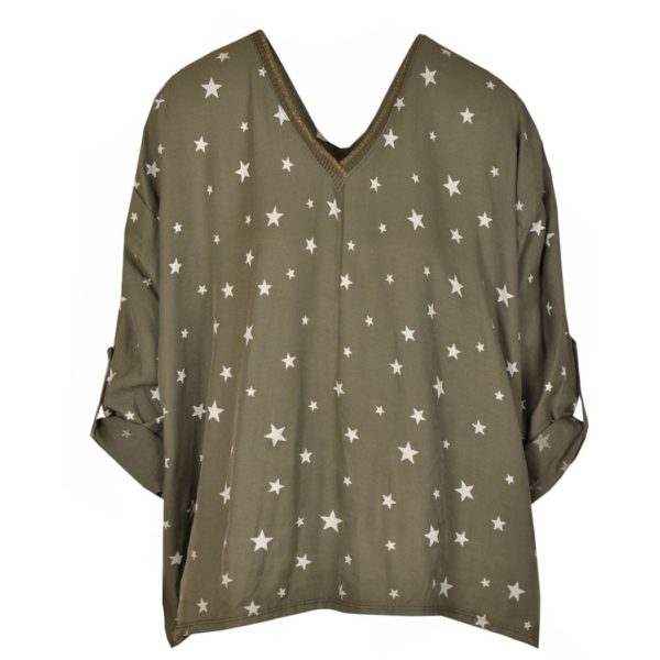 Star v-neck boxy top