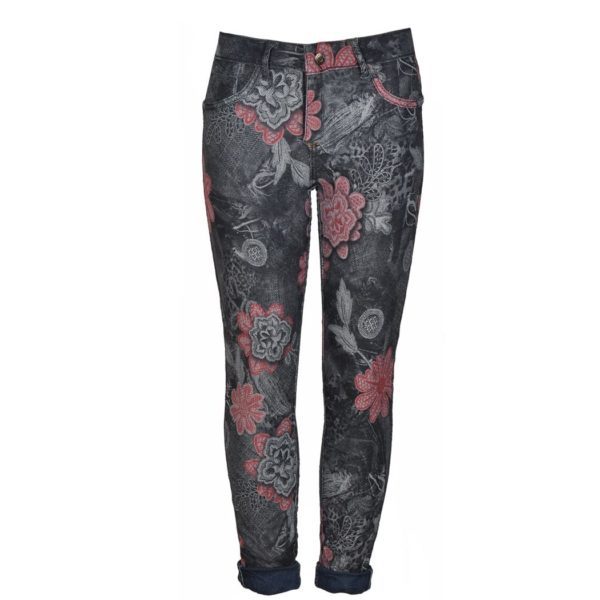 Reversible floral animal print pants
