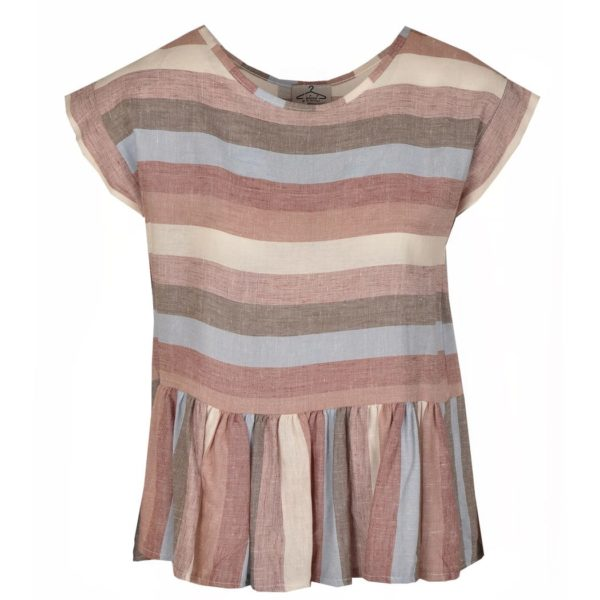 Linen mixed stripe top
